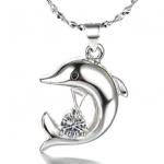 JK新款海豚吊墜鍍銀項鍊